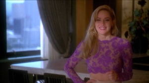 "By far one of my favorite looks worn by Stone in ""Casino"" this sheer purple lace top was paired the perfect wide leg cream pants. The perfect trophy wife"