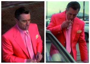 In one of the final scenes of Casino DeNiro makes a loud fashion statement in this extremely pink ensemble. One of my favorites of the entire film.
